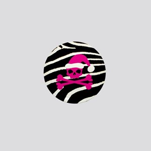 Hot Pink Santa Skull Mini Button