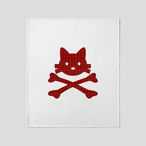 Plaid Kitty X-Bones by Rotem Gear Throw Blanket