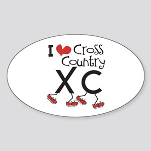 I heart Cross Country Running Sticker (Oval)