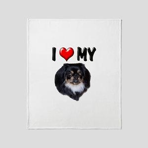 I Love My Pekingese (black) Throw Blanket