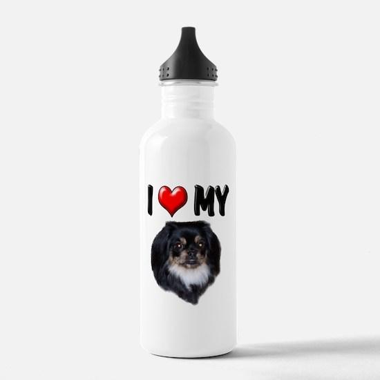 I Love My Pekingese (black) Water Bottle