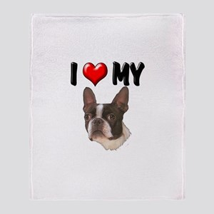 I Love My Boston Terrier Throw Blanket
