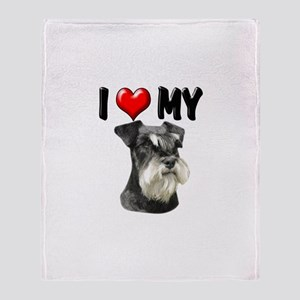 I Love My Miniature Schnauzer Throw Blanket