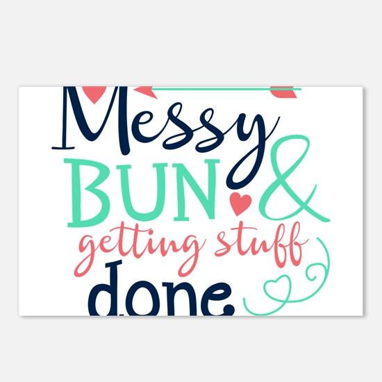 Messy bun amp; getting stuff done Postcards (Packa
