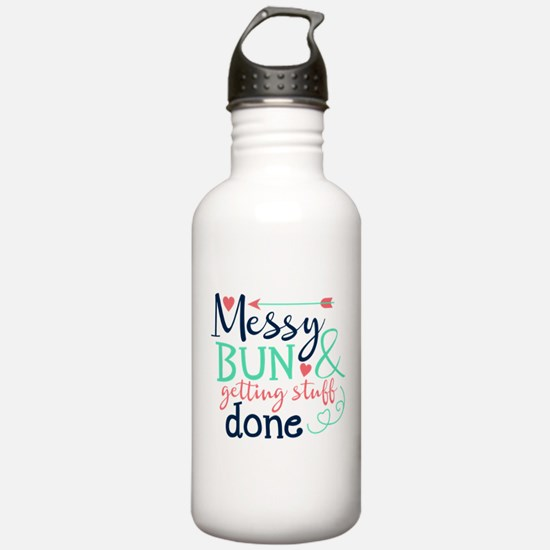 Messy bun amp; getting stuff done Water Bottle