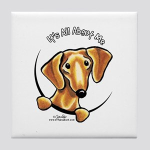 Red Dachshund IAAM Tile Coaster