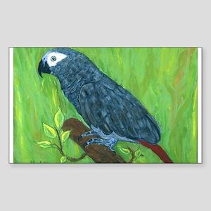 African Grey Parrot Rectangle Sticker