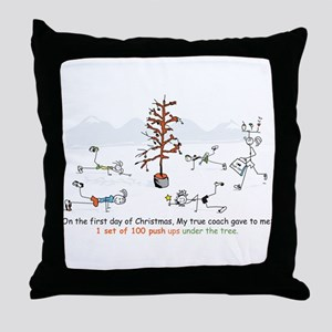 Runner's First Day of Christm Throw Pillow