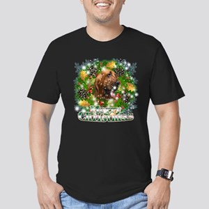 Merry Christmas Bloodhound Men's Fitted T-Shirt (d