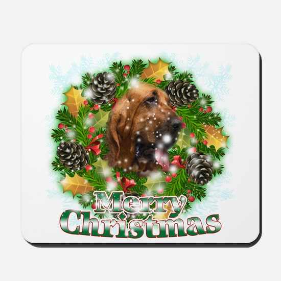Merry Christmas Bloodhound Mousepad