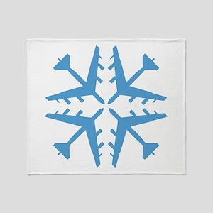 B-52 Aviation Snowflake Throw Blanket