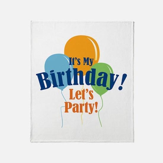 Birthday Party Balloons Throw Blanket