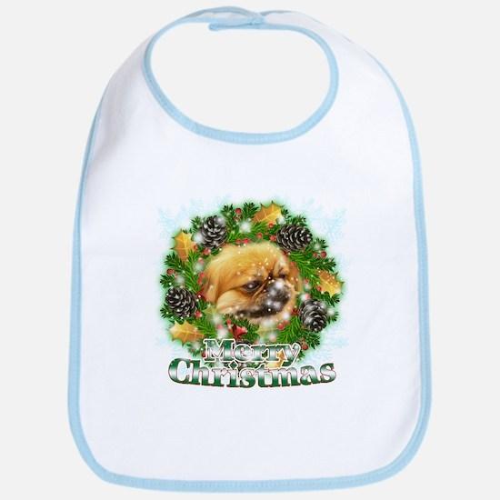 Merry Christmas Pekingese Bib