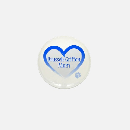 Brussels Griffon Blue Heart Mini Button