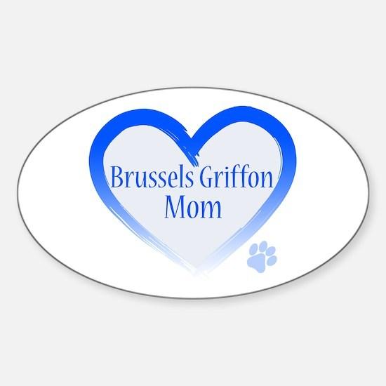 Brussels Griffon Blue Heart Sticker (Oval)