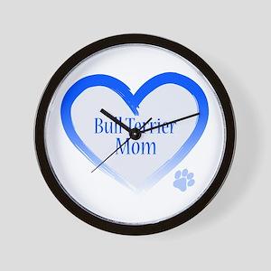 Bull Terrier Blue Heart Wall Clock