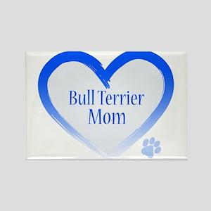 Bull Terrier Blue Heart Rectangle Magnet