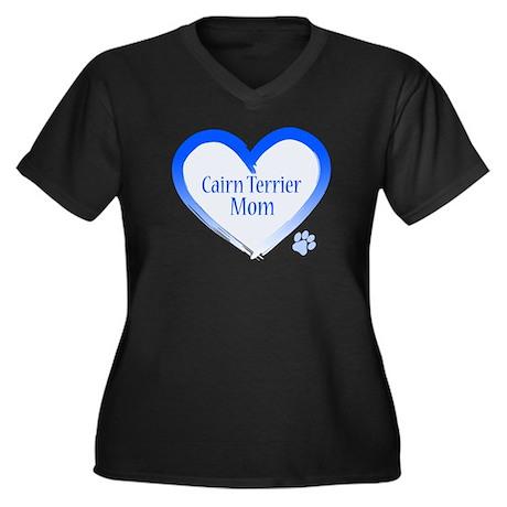 Cairn Terrier Blue Heart Women's Plus Size V-Neck