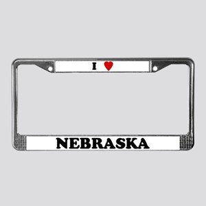 I Love Nebraska License Plate Frame