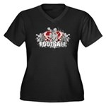 Football Women's Plus Size V-Neck Dark T-Shirt