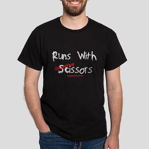 Runs W/Decorative Scissors Black T-Shirt