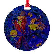 Blue Steampunk Dragonfly Round Ornament