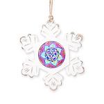 Blue Mandala Rustic Snowflake Ornament