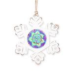 Cyan Mandala Rustic Snowflake Ornament