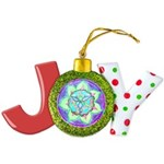 Cyan Mandala Joy Ornament
