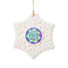 Cyan Mandala Snowflake Ornament