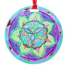 Cyan Mandala Round Ornament