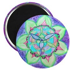 Cyan Mandala Magnets