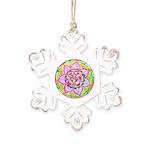 Rose Mandala Rustic Snowflake Ornament