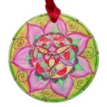Rose Mandala Maple Round Ornament