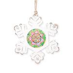Orange Mandala Rustic Snowflake Ornament