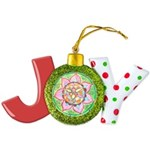 Orange Mandala Joy Ornament