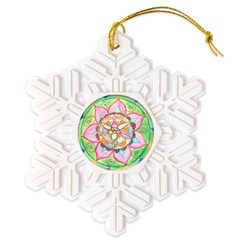 Orange Mandala Snowflake Ornament