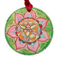 Orange Mandala Maple Round Ornament