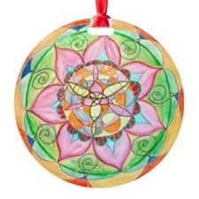 Orange Mandala Round Ornament