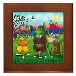 Golfing frogs Framed Tile