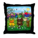Golfing frogs Throw Pillow