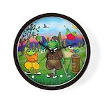 Golfing frogs Wall Clock