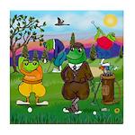 Golfing frogs Tile Coaster