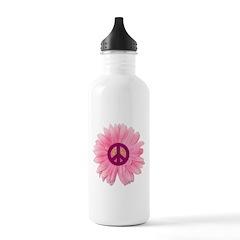 Pink Peace Daisy Water Bottle