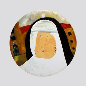 NUN WITH A PEARL EARRING Ornament (Round)