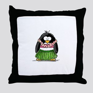 Hula Penguin Throw Pillow