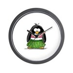 Hula Penguin Wall Clock
