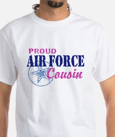 Proud Air Force Cousin White T-Shirt