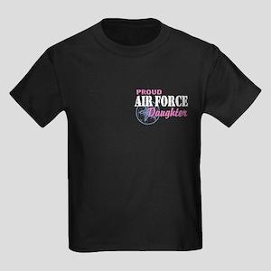 Proud Air Force Daughter Kids Dark T-Shirt