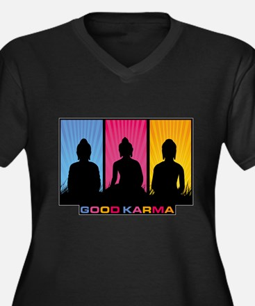 Good Karma Buddhas Women's Plus Size V-Neck Dark T
